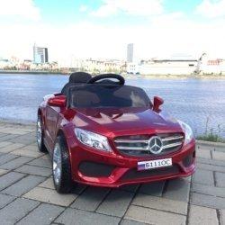 Электромобиль Мерседес Б111ОС красный (резиновые колеса, кожа, пульт, музыка, глянцевая покраска)