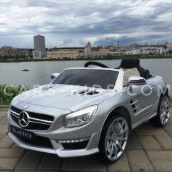 Электромобиль Mercedes-Benz SL63 AMG серый (резиновые колеса, кожа, пульт, музыка, ГЛЯНЦЕВАЯ ПОКРАСКА)