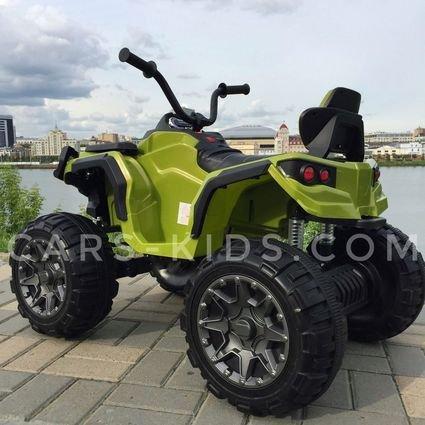 Электроквадроцикл Grizzly 4WD зеленый (АКБ 12v 10ah, колеса резина, сиденье кожа, пульт, музыка)