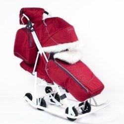 Санки-коляски Pikate Снеговик «Бордо» (дизайн со стразами, овчина, 3 положения спинки, краска рамы белый)