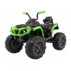 Электроквадроцикл Grizzly 4WD черно-зеленый (АКБ 12v 10ah, колеса резина, сиденье кожа, пульт, музыка)